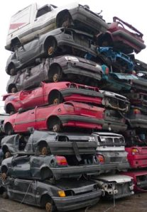 Junk cars in a scrapyard in Norderstedt near Hamburg, Germany. (Fabian Bimmer/Associated Press)